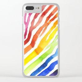 Zebra Rainbow Stripes Colorful Whimsical Animal Clear iPhone Case