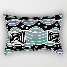 Wavy Tribal Lines with Shapes - Green Blue Black - Doodle Drawing Rectangular Pillow