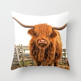Highland Cow in a Fence Throw Pillow