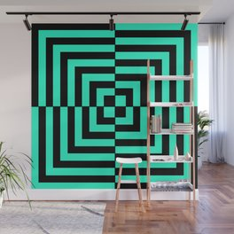 GRAPHIC GRID DIZZY SWIRL ABSTRACT DESIGN (BLACK AND GREEN AQUA) SERIES 5 OF 6 Wall Mural