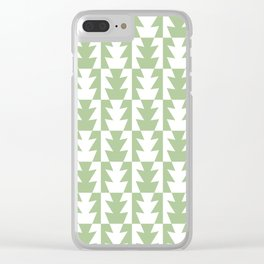 Art Deco Jagged Edge Pattern Sage Green Clear iPhone Case