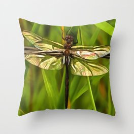 Dragonfly In Brown And Yellow Throw Pillow