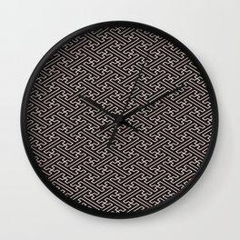 Black Auspicious Sayagata Japanese Kimono Pattern Wall Clock