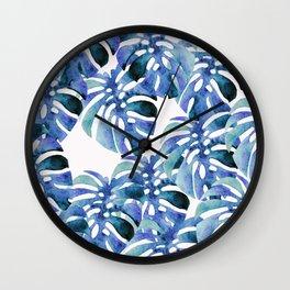 Monstera Pattern Blue Wall Clock