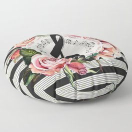 Treble Clef with Watercolor Roses Floor Pillow