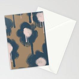 Large Graffiti Flowers Navy Stationery Cards