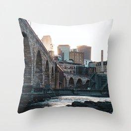 Minneapolis Minnesota Skyline Sunset Throw Pillow