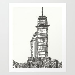 Mustachioed Monuments -- The Pru Art Print