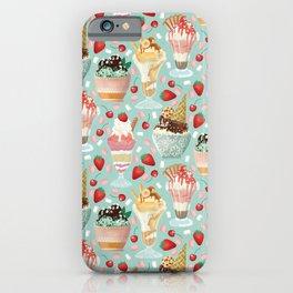 Sundae Daze on Pastel Turquoise iPhone Case