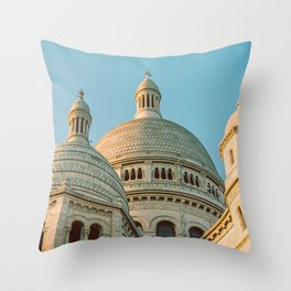 The Basilica of the Sacred Heart in Montmartre, Paris, France. Throw Pillow