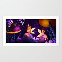 fairies Art Prints featuring Fairies by Jimena Mora