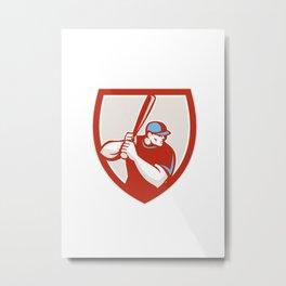 Baseball Player Batter Hitter Shield Retro Metal Print