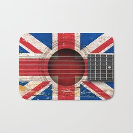 Old Vintage Acoustic Guitar with Union Jack British Flag Bath Mat