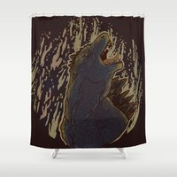 godzilla Shower Curtains featuring Godzilla by Mallory Morgan