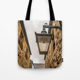 Victorian style lamp light on a public building Tote Bag