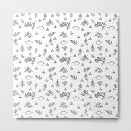 Cozy black and white pattern with teapots, cups and leaves Metal Print