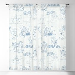 Alice in Wonderland Toile Blue Blackout Curtain