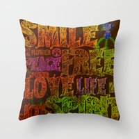 hippie Throw Pillows featuring Hippie by BLOOP