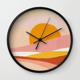 Abstract landscape - Mid century modern kids art - Children's art - Kids decor - Nursery room Wall Clock