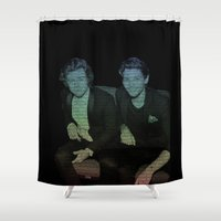 ed sheeran Shower Curtains featuring Friends by Ed Sheeran- Larry  by JodiYoung