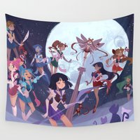 sailor Wall Tapestries featuring Sailor Soldiers by Ann Marcellino