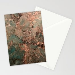 Marble Emerald Copper Blue Green Stationery Cards