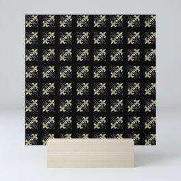 Fleur de lis ...gold, black, white Mini Art Print