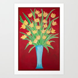 Yellow Tulips Blue Vase on Red I Art Print