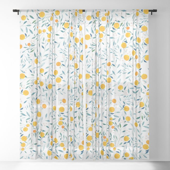 Orange Tree Sheer Curtain