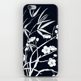 bamboo and plum flower white on black iPhone Skin