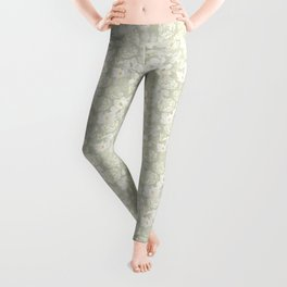 White flowers on pale green Leggings