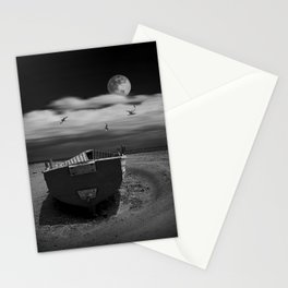 Row Boat on a Sandy Beach in Biscayne Bay Florida Stationery Cards