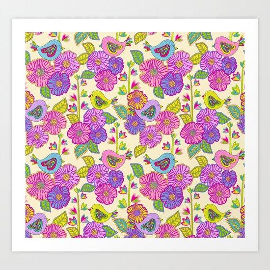 """My birds and my flowers"" Art Print"