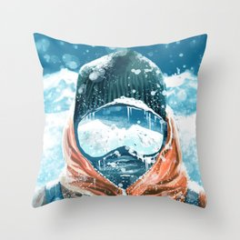 climber in the everest Throw Pillow