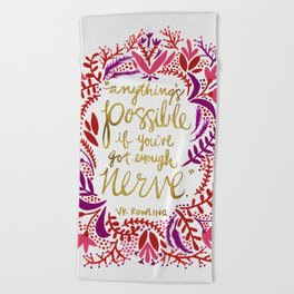 Anything's Possible – Gold & Red Beach Towel