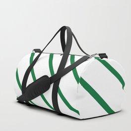 Diagonal Lines (Dark Green & White Pattern) Duffle Bag
