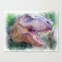 t rex Canvas Prints featuring T-Rex by Heidi Perry