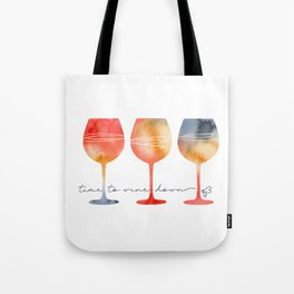 Time to Wine Down Watercolour Tote Bag