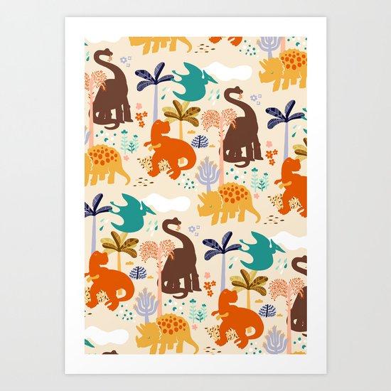 jurassic classic pattern Art Print