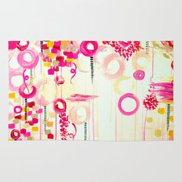 BALLOON LOVE Bubblegum POP! Beautiful Cheerful Bubbles Pretty Pink  Abstract Acrylic Painting Sky Rug