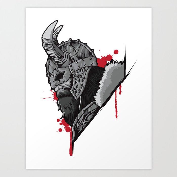 4104f2d51f15a Viking Warrior | Raven Odin Valhalla Valknut Loki Art Print by ...