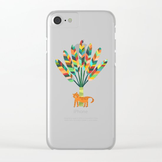 Whimsical travelers palm with tiger Clear iPhone Case