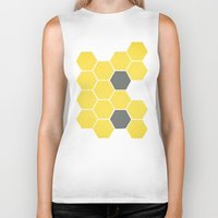 honeycomb Biker Tanks featuring Yellow Honeycomb by Cassia Beck