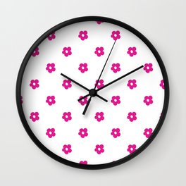 Hot Pink Ditsy Dot Flower Pattern Wall Clock