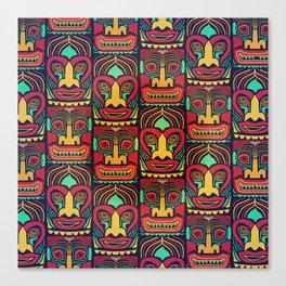 Tiki tribal mask pattern. Canvas Print