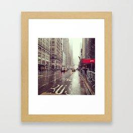 nyc street rain Framed Art Print