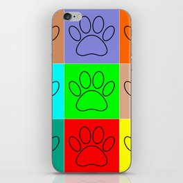 Puppy Paws In Squares iPhone Skin