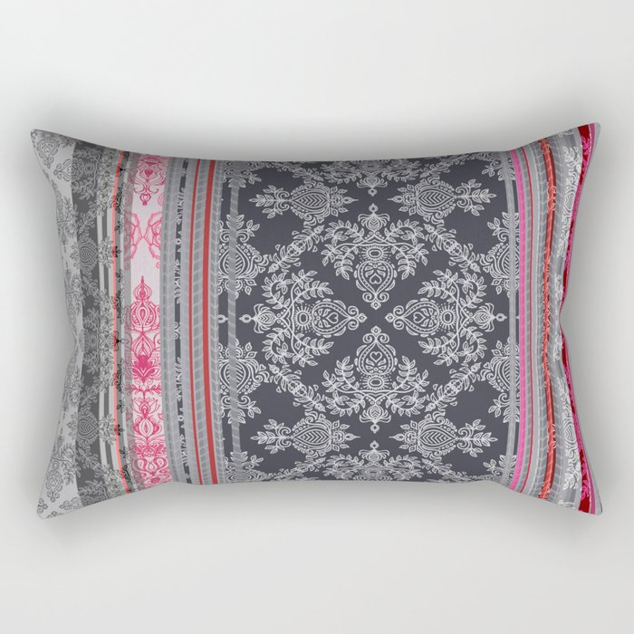 Burgundy, Pink, Navy & Grey Vintage Bohemian Wallpaper Rectangular Pillow
