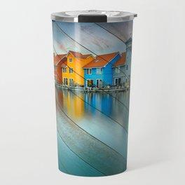 Faux Wood Blue Morning at Waters Edge Groningen Netherlands Europe Coastal Landscape Photograph Travel Mug