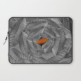 Orange Leaf On Grey And Silver Leaves - Beautiful Background - Autumn mood - #Society6 #buyart Laptop Sleeve